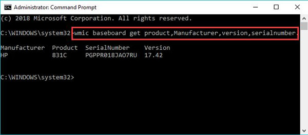 find motherboard number in command prompt