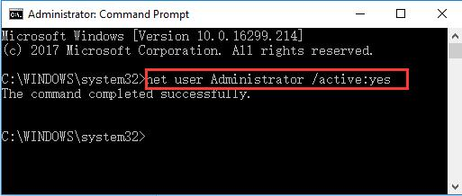 input net user administrator active yes in command prompt