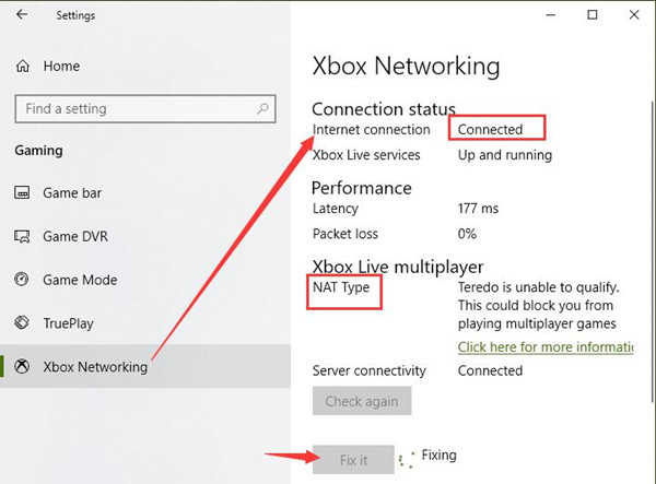 check xbox networking