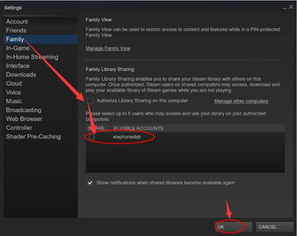 disable steam sharing