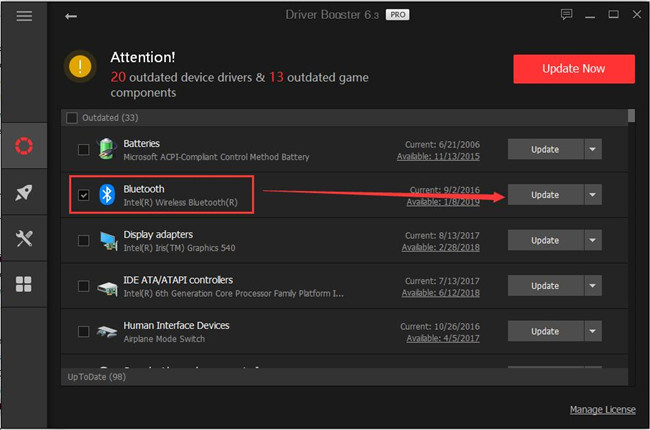 driver booster update bluetooth driver