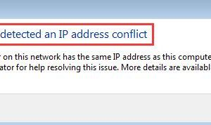 windows has detected an ip address conflict