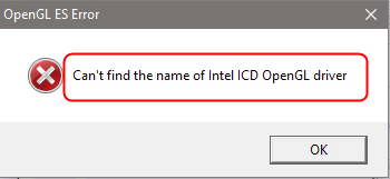 can't find the name of intel icd opengl driver