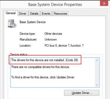 code 28 error device manager