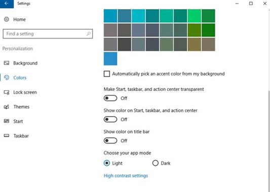 colors more settings