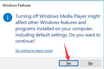 confirm to disable windows media player