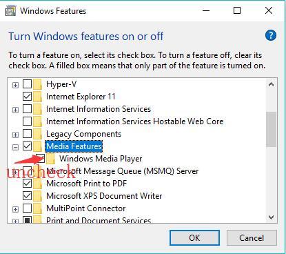disable windows media player