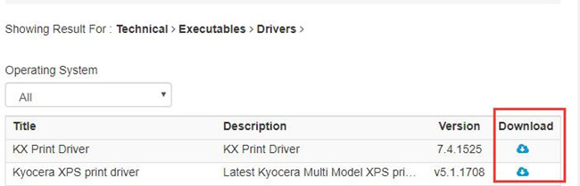 download kyocera xps printer driver