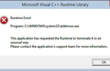 atibtmon.exe runtime error