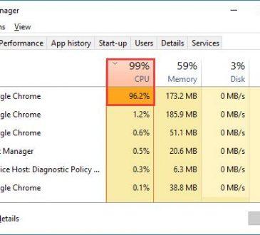 high cpu usage in google chrome