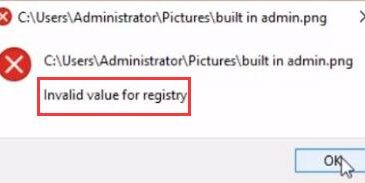 invalid value for registry when opening photos