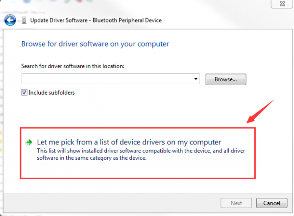 let me pick from a ist of device drivers on my computer