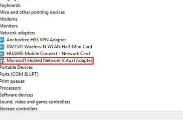 microsoft hosted network virtual adapter missing