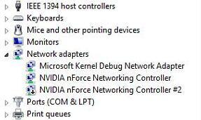 nvidia nforce networking controller not working