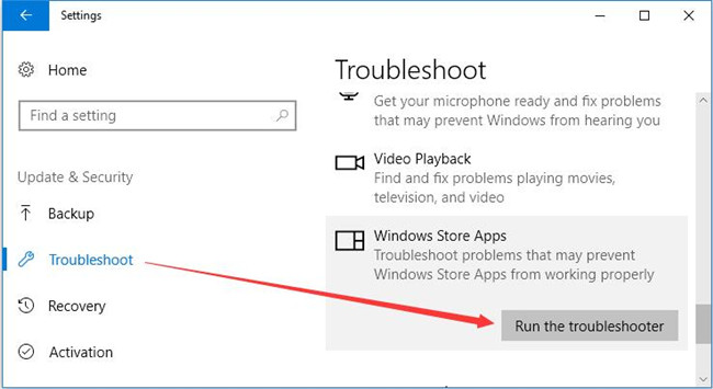 run windows store apps troubleshooter