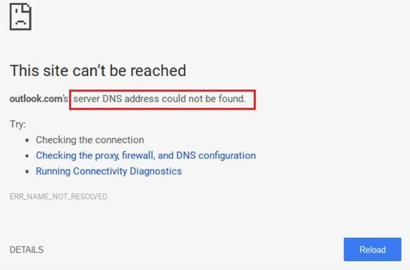 server dns address not found