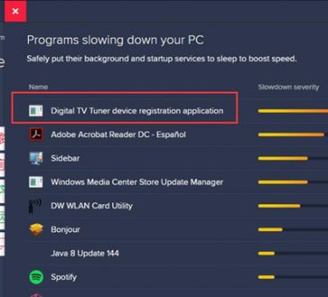 should i remove digital tv tuner device application registration