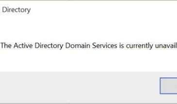 active directory domain services is curretly unavailable