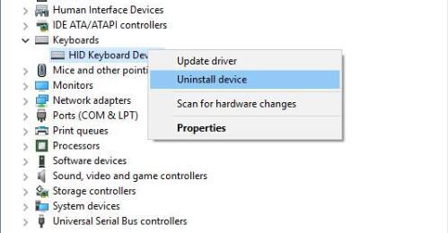 uninstall hid keyboard device