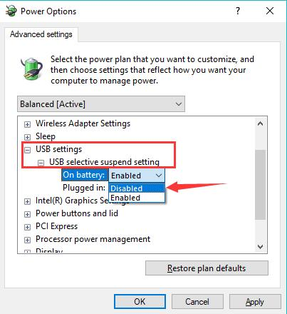 usb selective suspend settings disabled