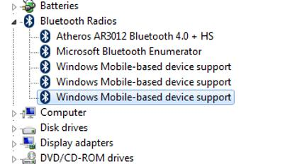 windows mobile-based device support under bluetooth radios