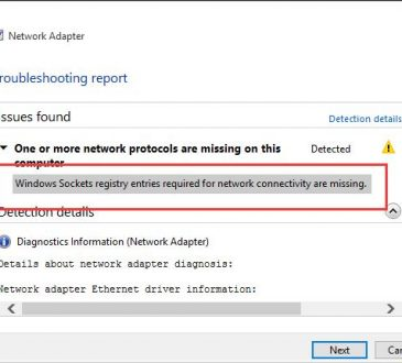 windows sockets registry entries required for network connectivity missing