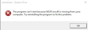wldcore.dll missing