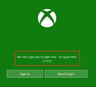 xbox app error 0x406