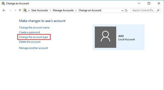 change the account type