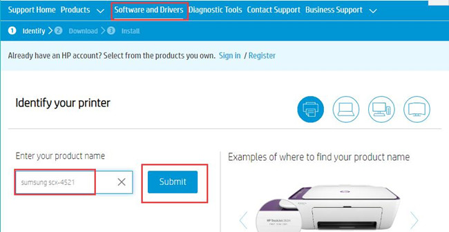 identify samsung printer on official site