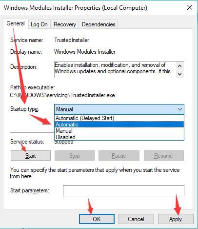 windows modules installer automatically