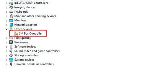 sm bus controller not recognized by windows