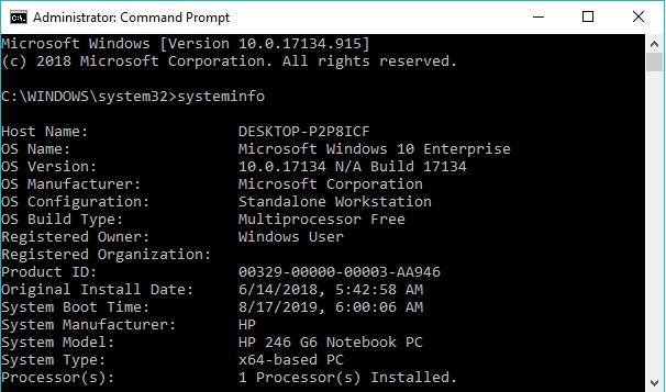system specs in command prompt