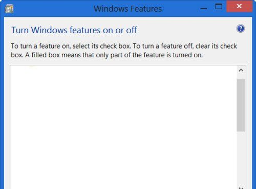 turn windows features on or off blank