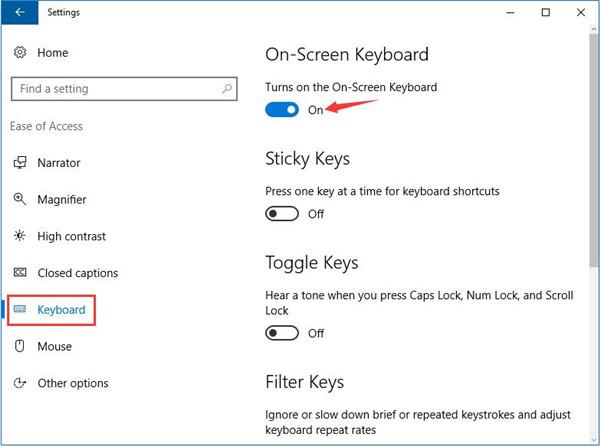 turn on on-screen keyboard