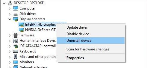 uninstall display driver in device manager