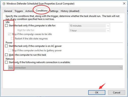 windows defender scheduled scan properties conditions