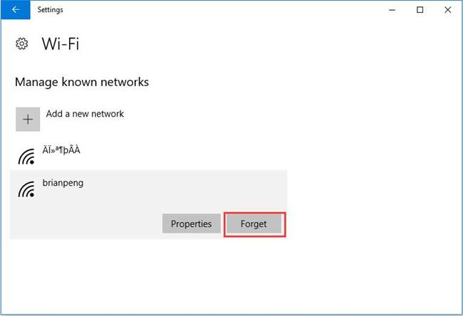 wirelesss network forget password
