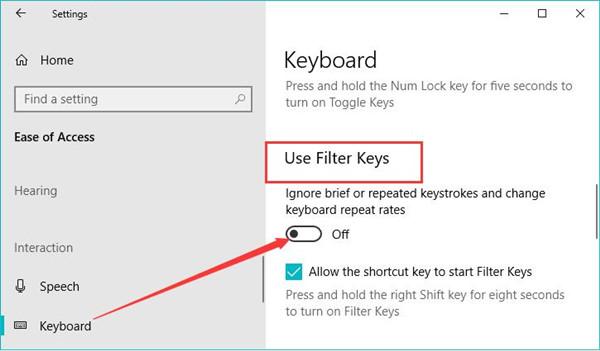 disable filter keys