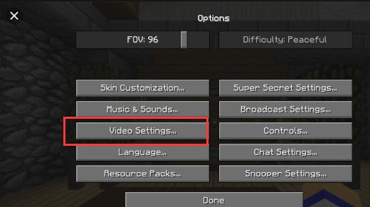 minecraft video settings