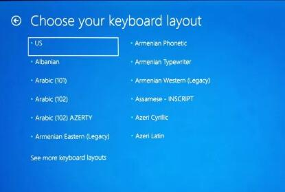 windows 10 stuck at choose your keyboard layout