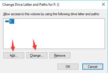 add or change drive letter