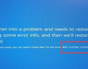 bad system config info on windows 10