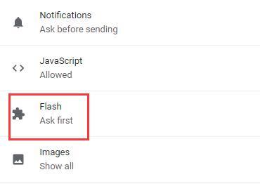 flash in site settings