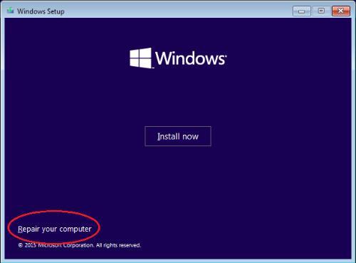 repair your computer in windows setup