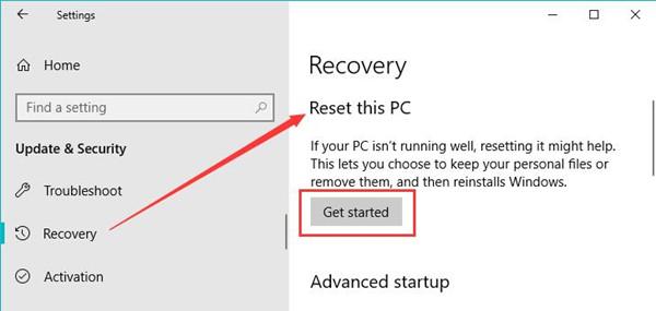 start reset windows 10