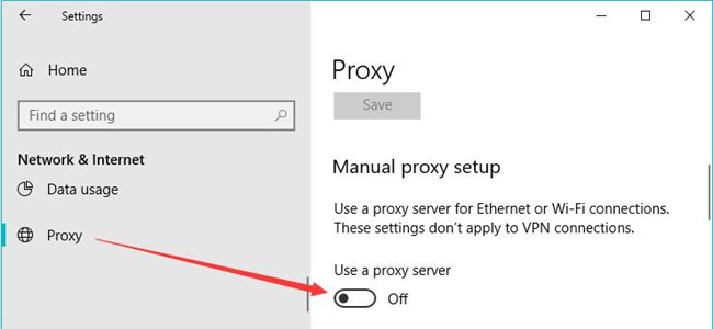 disable proxy server