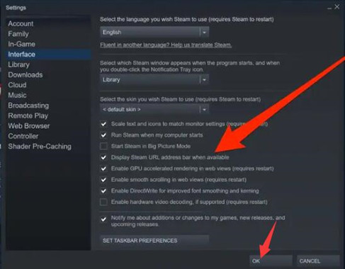 display steam url address bar when available