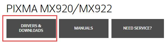 mx922 drivers downloads on canon official site
