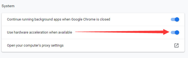 turn on hardware acceleration in google chrome